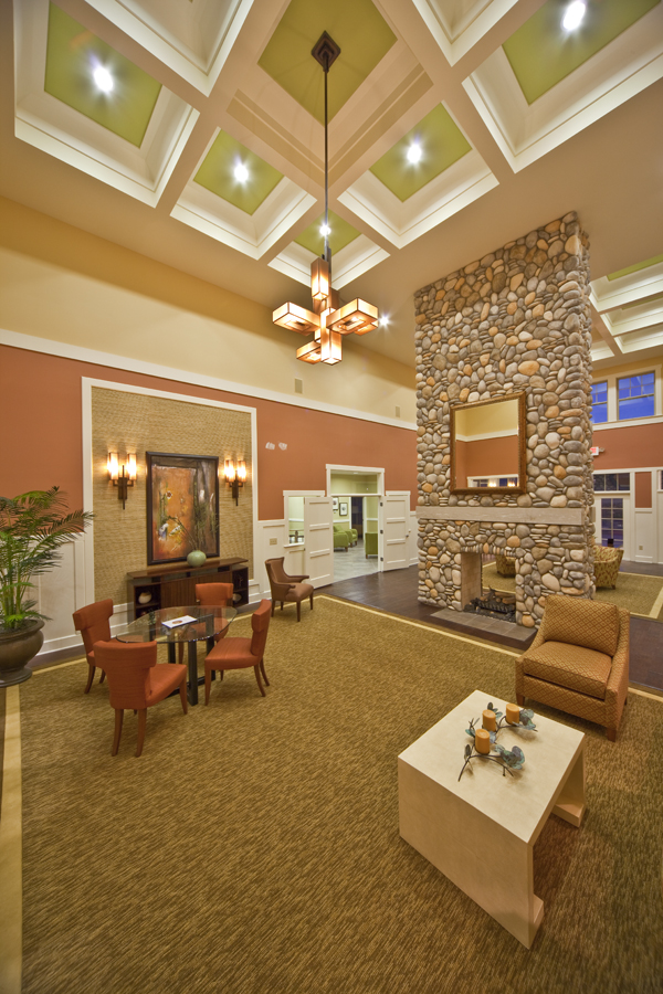 Clubhouse stone fireplace