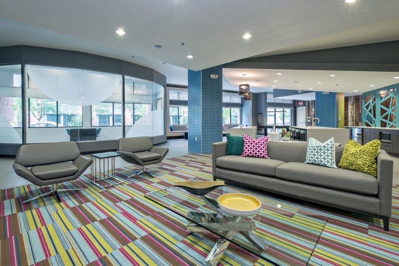 Colorful clubhouse lounge area