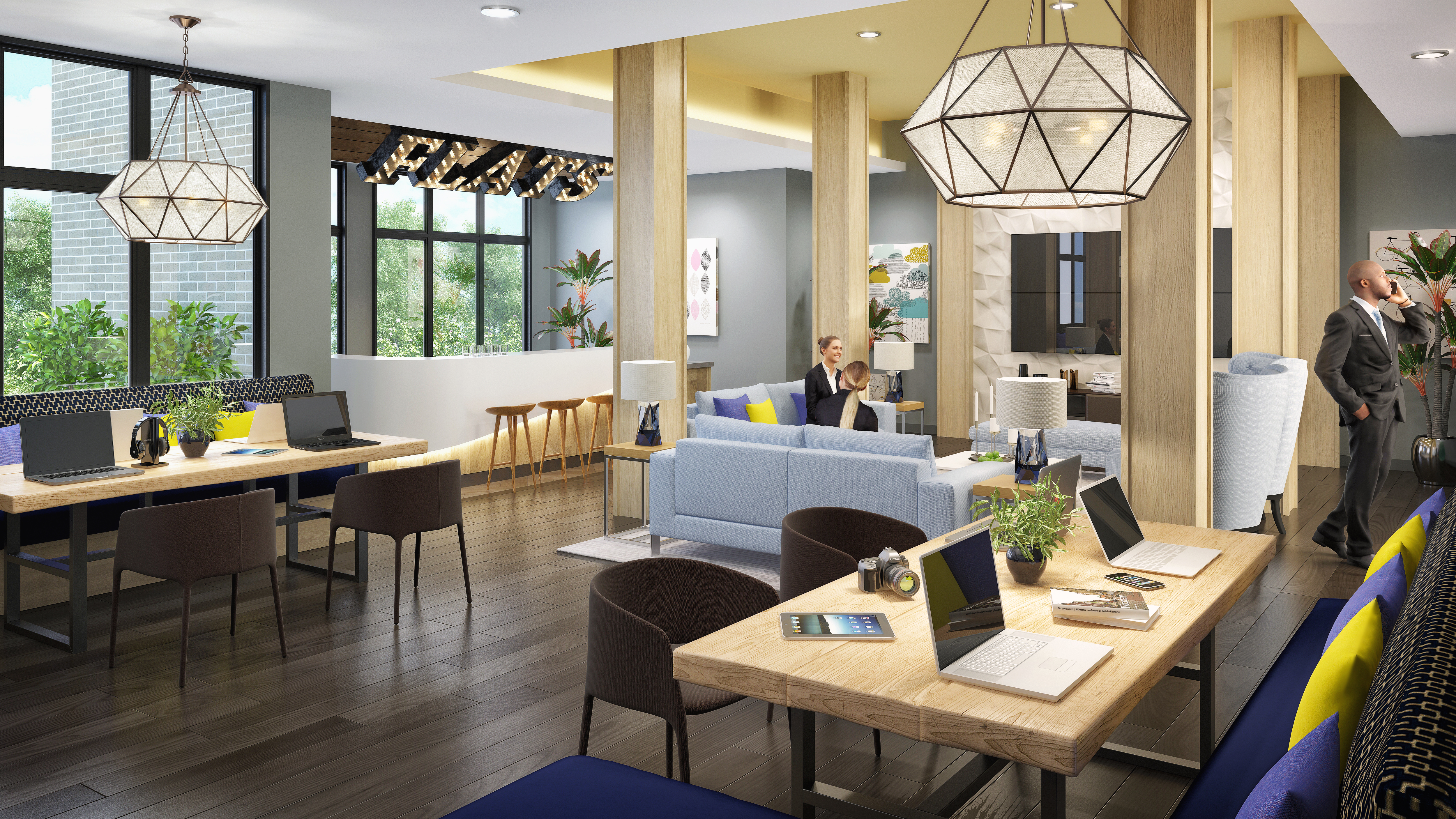 Clubhouse interior with workspace and gathering areas