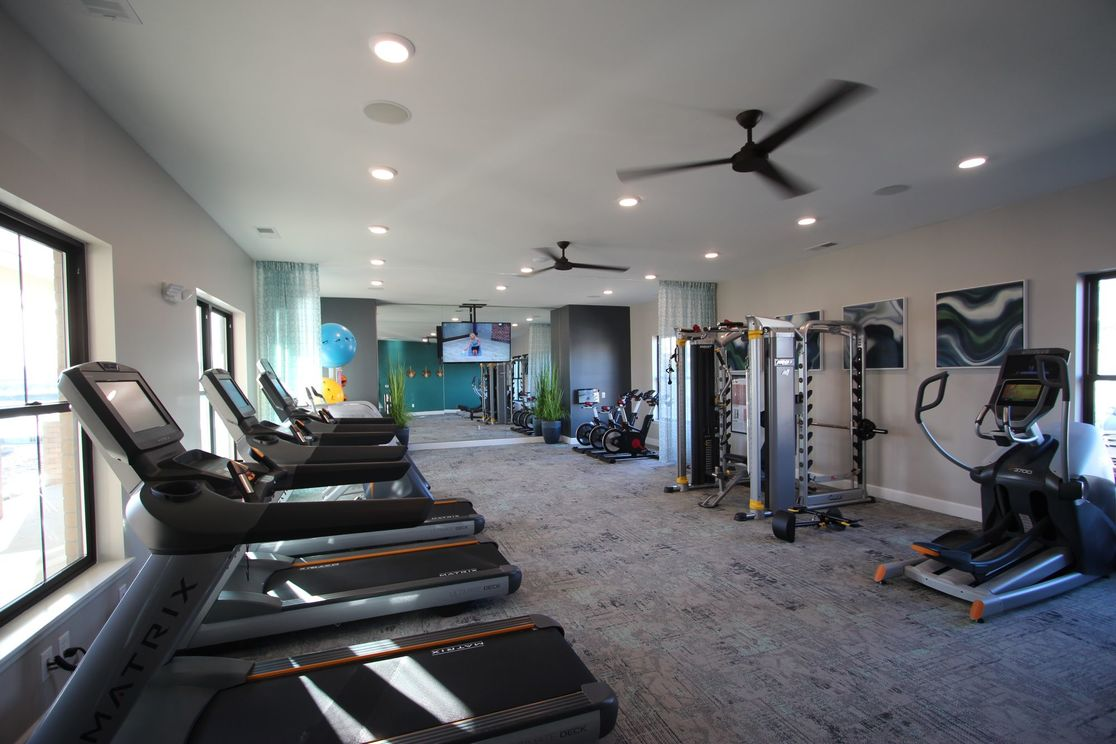 Workout center with treadmills and weight machines