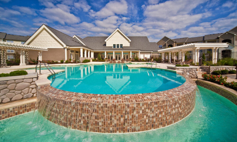 Resort-style tiered pool